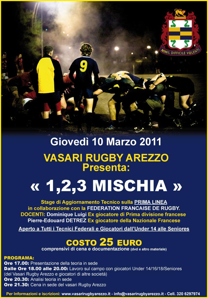 Giovedi 10 marzo 1,2,3 MISCHIA Stage sulla Prima linea in collaborazione con la FFR